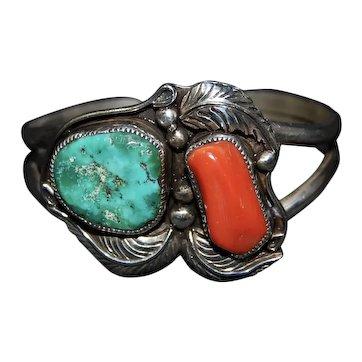 Navajo Silver Cuff Bracelet Lowell Draper Turquoise