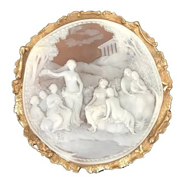 Monumental carved shell cameo pin/ pendant featuring Maiden -  14K gold frame with excellent detail