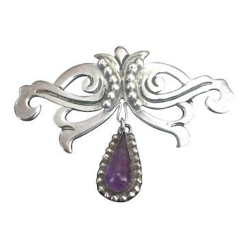 Mexico 950 silver Taxco Amethyst Drop Pin