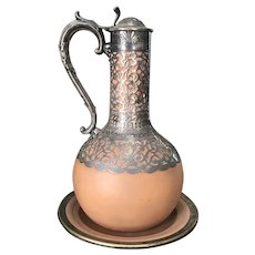 Rare 1867 Wedgewood Terracotta silver overlay decanter/carafe with lid and original underplate