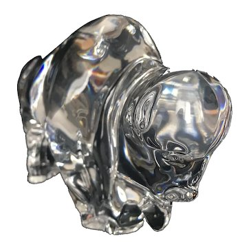 Stunning BACCARAT Crystal BUFFALO Figurine