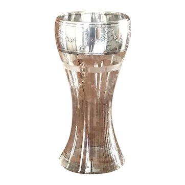 Sterling Silver and etched glass vase with classical urns
