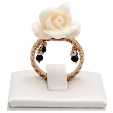 18kt Rose gold ring with white coral rose and black diamond pendants