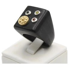 Ebony wood ring with 18kt gold element, citrine, peridot and spinel