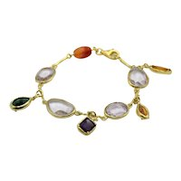 Fancy bracelet in 925 gilded silver with semiprecious stones