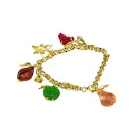 Bracelet in 925 gilded silver with silver leaf and glass paste fruit