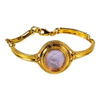Gilded 925 silver bracelet with Centaur glass paste cameo Etruscan style