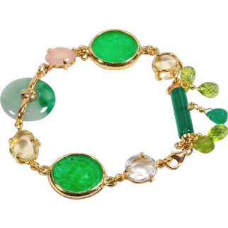 Fancy bracelet in 18kt yellow gold with jade, peridot, chalcedony, agate and diamond