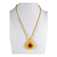 Gilded 925 silver necklace  with Medusa red glass paste cameo Etruscan Style
