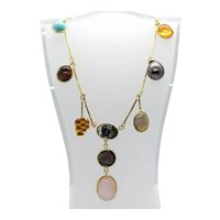 Fancy necklace in 925 gilded silver with pearls and semiprecious stones