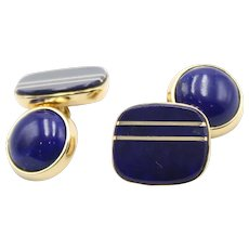 18Kt yellow gold cufflinks with lapis lazuli