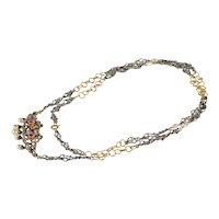 Vintage 18kt gold and 925 silver necklace with pendant with ruby, cultured pearls and diamonds
