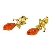 Earrings in 925 gilded silver with silver leaves and glass paste orange lemon