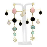 Fancy earrings in 925 gilded silver with semiprecious stones