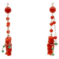 Fancy earrings in 18kt rose gold with coral figures, emeralds and diamonds
