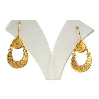 Earrings in gilded 925 silver with drop and wedge of moon roman-etruscan style