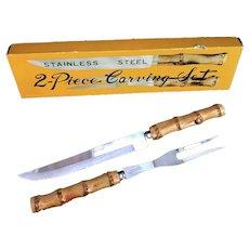 Bamboo flatware set carving knife fork