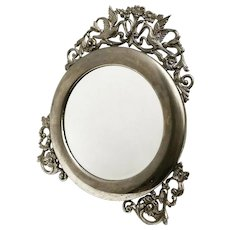 Vanity Mirror Vintage pewter table top mirror with Stand, psyche Round Mirror ornate with swans and flowers