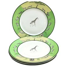 Hermes Africa Green Diner plates set of 4