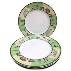 """Hermes Africa Green Salad Dessert Entree 22 cm /8.6"""" plates set of 4"""