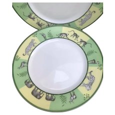 "Hermes Africa Green 3 Salad Dessert Entree 22 cm /8.6"" plates"