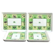 Hermes Africa Green Sushi Rectangular plates set of 4