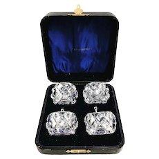 Salt cellars set 4 crystal cut boxed Daum France pepper serving  faceted glass