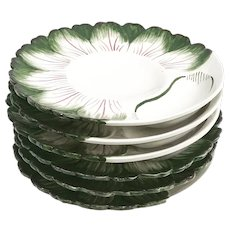 Bassano majolica barbotine set 6 artichoke serving dish hand painted 1940s signed and numbered Plate