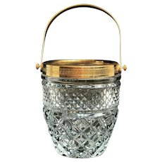 Ice Bucket heavy molded glass French with golden metal handles