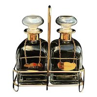 Whisky Porto Liquor bottle set 2 bar Glass Scotch Bourbon Hollywood Regency bar