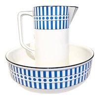 Wash Set Art Deco Jug Wash Bowl, 2 pieces Set, Belgian Pottery 1920s