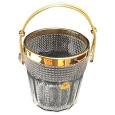 Ice Bucket heavy cut crystal with golden metal handles Mid Century