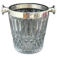 Champagne Ice Bucket Crystal silver plated trim handles Germany Cut Glass