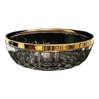 Large salad bowl fruit dish,coupe Crystal 24 K Gold plated Centerpiece