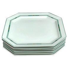 Porcelain Bernardaud Limoges large Dinner plates Set 6 square Paul Poiret Années 30s