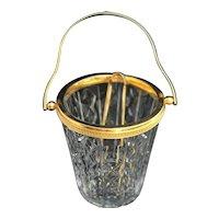 Ice Bucket Val Saint Lambert heavy cut crystal with golden metal handles