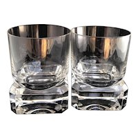 Whisky Glass set of 2 Villeroy and Boch heavy Cristal Cut Scotch Drink Glasses