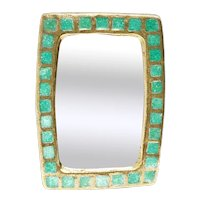Mirror Mithé Espelt Vintage Rectangular turquoise cabochons French Vallauris glazed ceramic