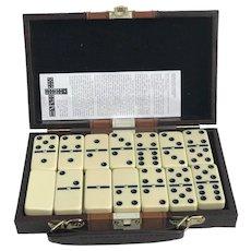 Vintage Dominoes travel Case, Table Game Set,