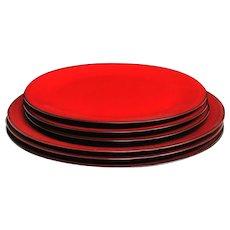 Red glazed ceramic plates
