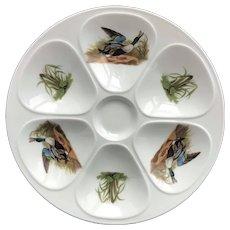 1 Porcelaine Oyster plate Mallard Duck Illustration French