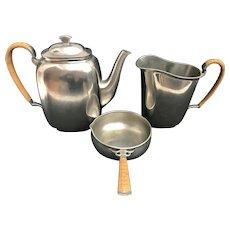 Just Andersen Art Deco Pewter Tea Coffee Serving Set wicker handles 1930s Denmark