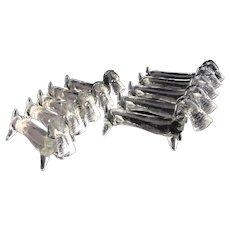 Crystal cutlery rest Fox Terrier Dog 1940s set of 10 knife rest
