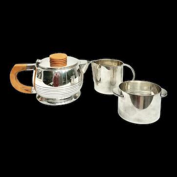 Art Deco Tea set, Elkington & Co Cardinal Plate silver plated Vintage 1920s butterscotch bakelite