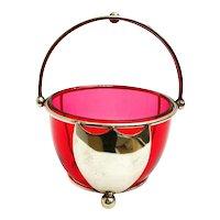 Cranberry glass Victorian vintage bonbon dish sugar bowl