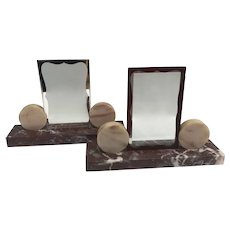 Pair photo holder Art Deco Marble picture frame French Art Deco