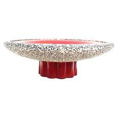 Art Deco Centerpiece  1930s France Sèvres plate Large ceramic glazed blood red