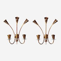 Delicate Vintage Brass and Glass Mid-Century Modern Italian Sconces - a pair
