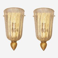 Clear & Gold Flakes Handmade Murano Glass Sconces, Neoclassical Style, Italy 1960s
