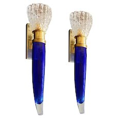 Mid-Century Modern Cobalt Blue & Clear Murano Glass Torchiere Sconces,  Two Pairs
